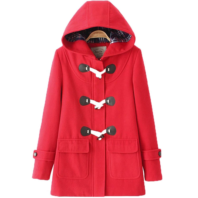 bdeeaf994f7b3 Get Quotations · Imagine Women s Hoodie Fleece Jacket Duffle Style Toggle  Wool Coat Pea Coat Plus Size