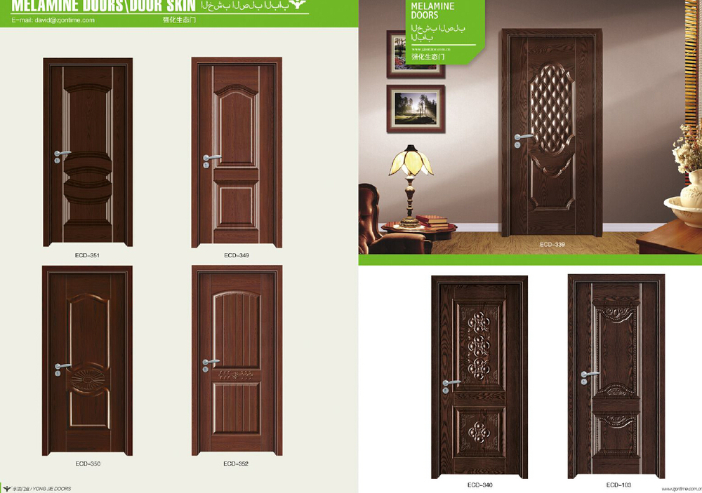 Zhejiang yongjie door factory plywood door teak wood door for Plywood door design