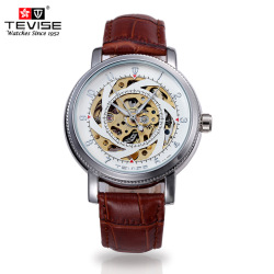 TEVISE Leather Strap Automatic Mechanical Watches Men's Waterproof Skeleton Wristwatch