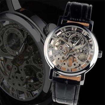 wm119 new men s black leather luxury skeleton dial hand wind up wm119 new men s black leather luxury skeleton dial hand wind up mechanical wrist watch