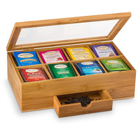Custom logo 8 compartment bamboo tea display storage organizer box with a slide-out drawer