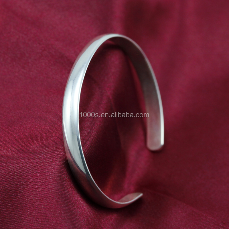 Custom Blank 925 Solid Sterling Silver Customize Logo Engrave Bangle Open Bracelet Wholesale