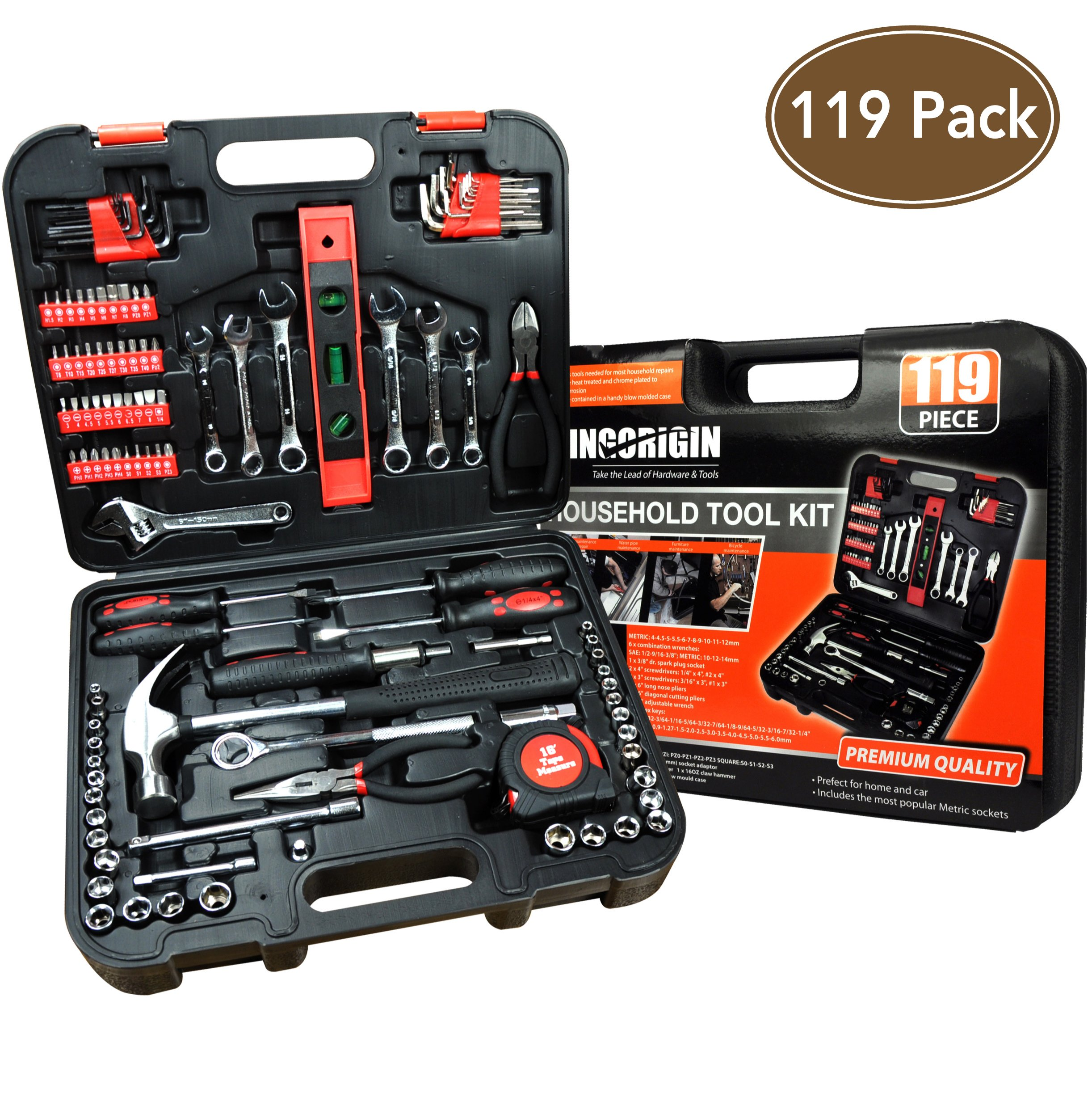 119Piece Heavy Duty Professional Home Repair Tool Kits,home tool kit,home repair tools,Multi Tools Set, Homeowner Tool Kits, Tool Sets,Kit,tool kit,tool set,home tool kit,tools