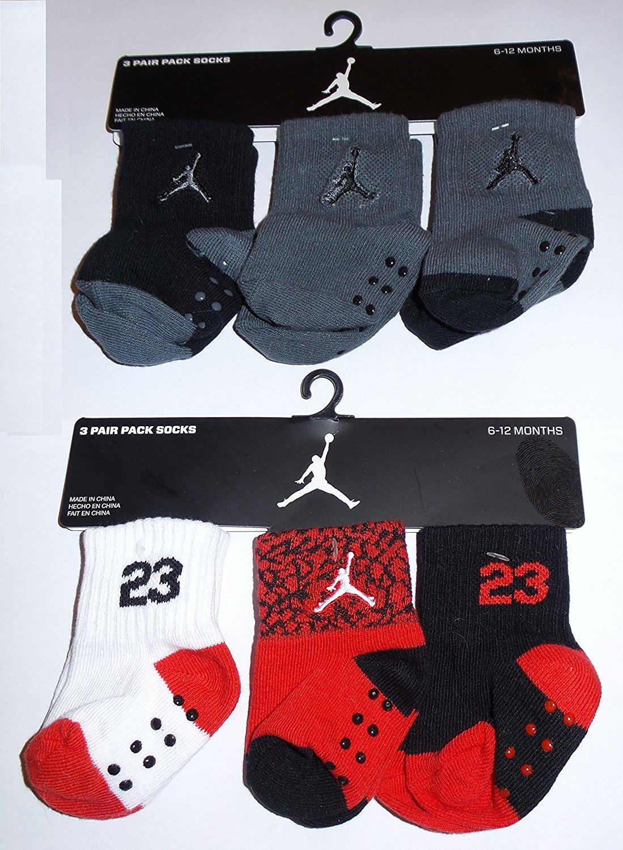 Nike Air Jordan Jumpman Baby Socks, Non-Slip, 2 Pack (6 Pairs) Size 06 - 12 Months