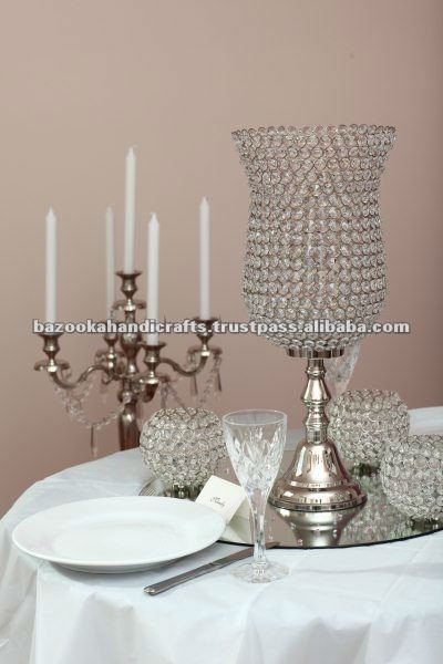 Crystal Bead Candle Holder Hurricane