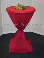 garden wedding and outdoor party red cocktail table cloth polyester jersey stretch bistro table cover with belt