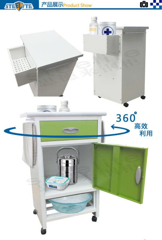 Locker Bedside Table: Metal Furniture Used Hospital Bedside Tables With Wheels