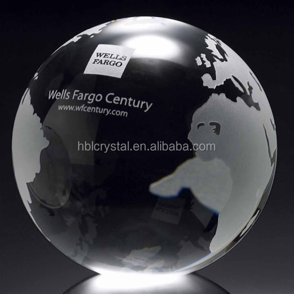 Popular sandblasting crystal glass globe with flat bottom