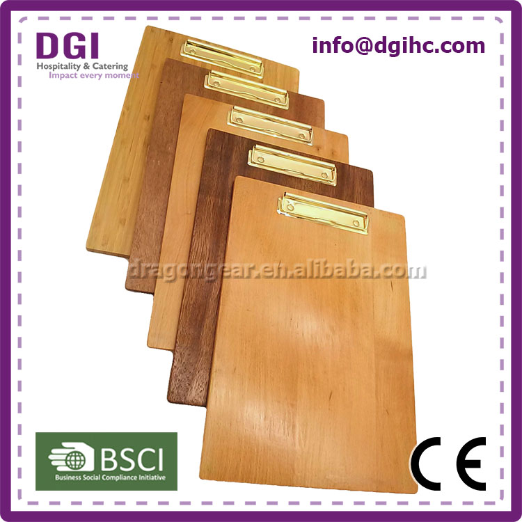 bamboo clips display board beauty look leather menu/card holder