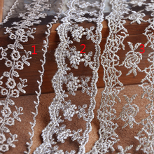 Vintage Gold Flower Embroidery Lace On Black Tulle Mesh Trimming