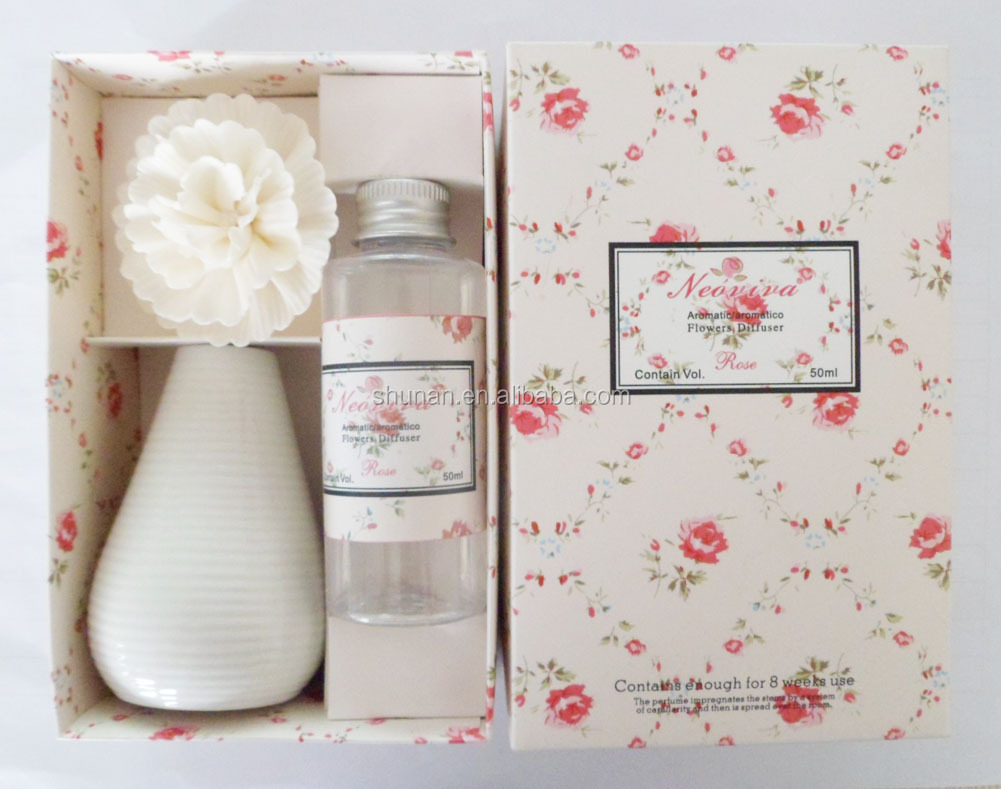 Aroma diffuser / 50ml flower diffuser/ ceramic bottle and sola flower