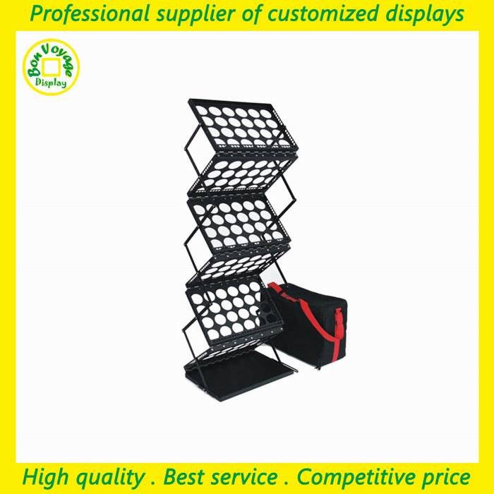High end folding metal catalogue display rack for canton fair