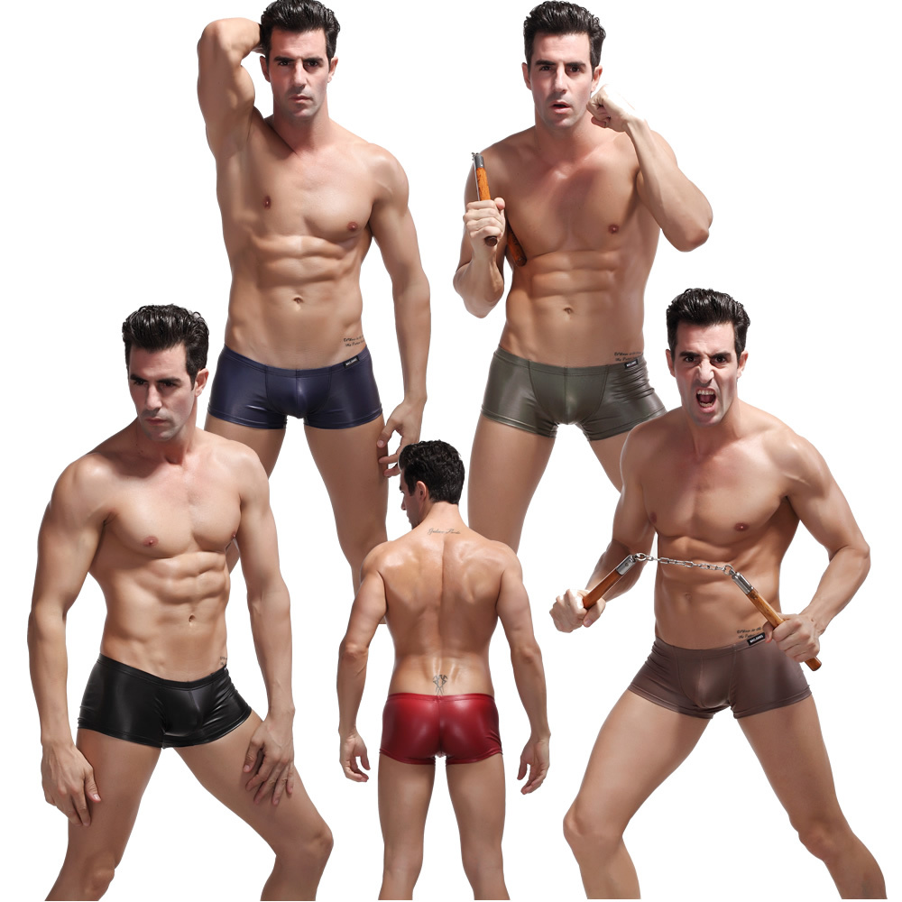 f77e5981f6a Get Quotations · Fashion Faux Leather Men s Underwear Boxer Shorts Shorts  Trunks Underpants