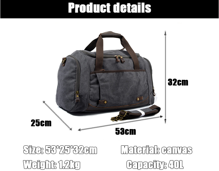 European design vintage large 16oz canvas leather trim garment luggage duffle duffel overnight holdall bag with shoes apartment