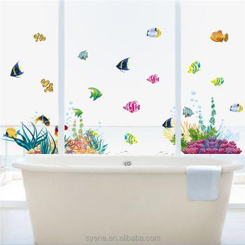 syene baru 3d stiker dinding kamar mandi ubin bawah dunia colorful