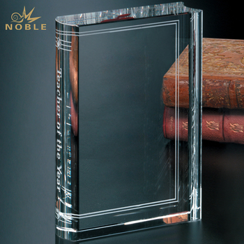 New Custom Blank Glass Crystal Book Award Plaque Trophy