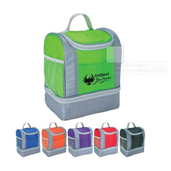 Custom logo kleur cool carry PVC koeltas twee compartiment lunch koeler