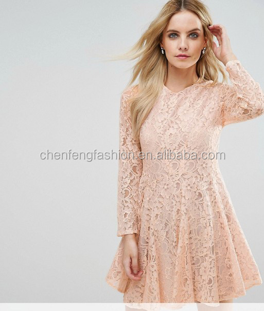 Grils full length sleeves allover lace prom skater dress
