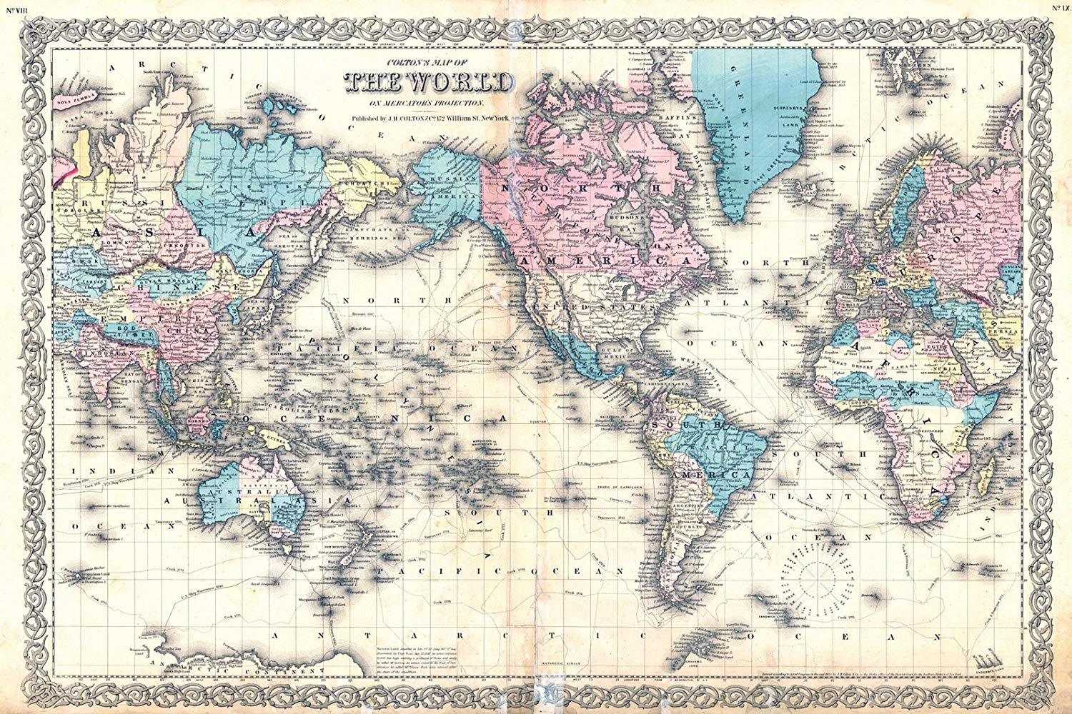 Historic Map   1855 Colton's Map of the World on Mercator's Projection   Colton, Joseph Hutchins