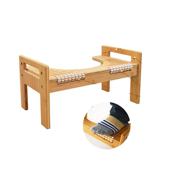 Adjustable Bamboo Luxury Squatting Toilet Stool with Built-In Foot Massager to Boost Blood Circulation