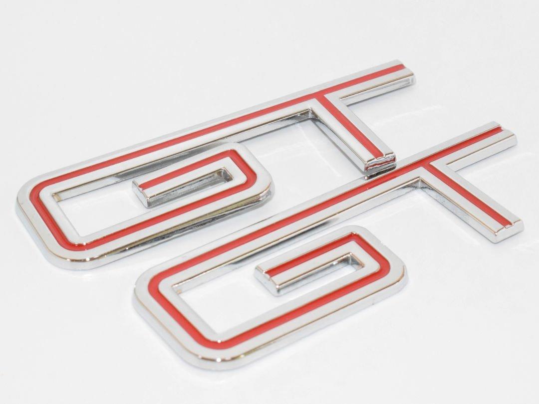Gt Red Hq Chrome Metal Trunk Badge Auto Fender Side Door Car Adhesive 3D Die Cast Zinc Alloy Emblem Logo Trunk Body Hood Chromed Decal Sticker 3D Car Auto Replacement Truck Van [2Pcs] SKU#5114-BX903