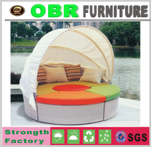 2017 luxury wicker hanging bed outdoor furniture round sun bed