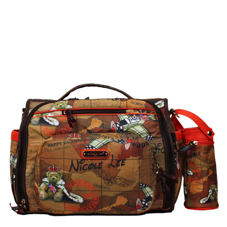d6014c4dc7 Get Quotations · Nicole Lee Women s Diaper Bag Multifunctional Brown  Convertiable Backpack