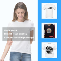 Wholesale women t shirt printing custom 100% cotton Seamless Have stock Free size Free colors Slim fit Tshirt