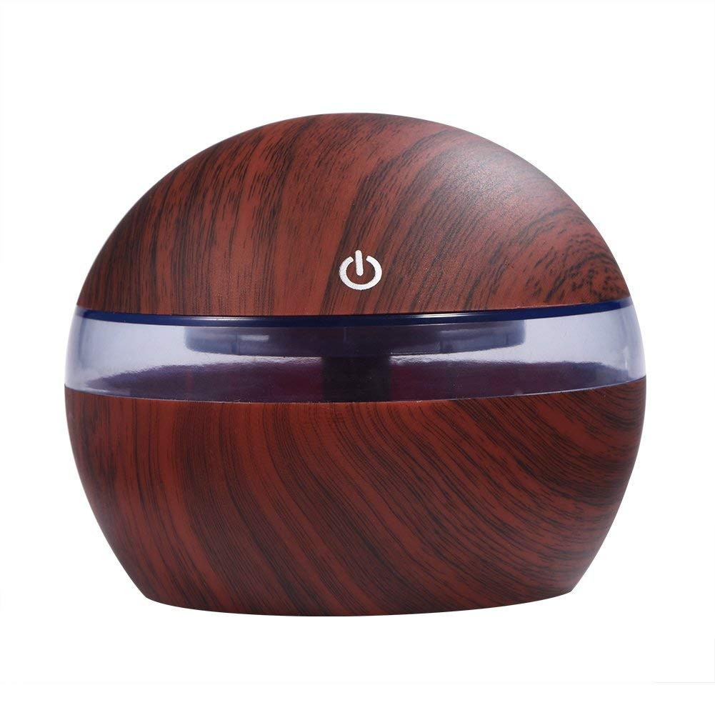 300ML Essential Oil Diffuser Portable Ultrasonic Aroma Aromatherapy Diffusers with Unique Wood Design(Deep Wood)