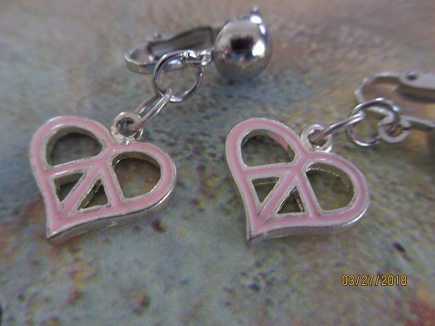 Sale New Handmade Clip On Pink Peace Sign Charm Earrings, Peace Sign Earrings, Retro Style Earrings