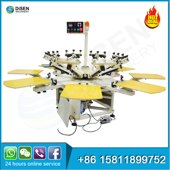 Automatic carousel rotary roll to roll 8 color t-shirt cylinder digital silk semi auto screen printing machine printer price