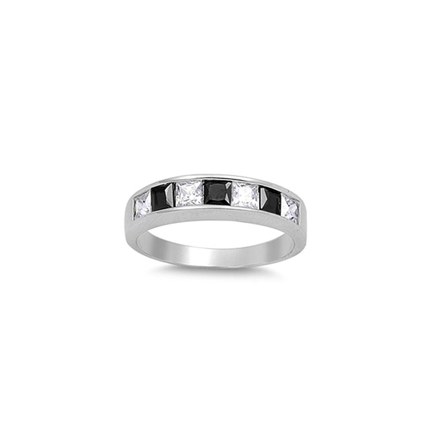 Noureda Sterling Silver Alternative Princess Cut Clear and Black Cz Band Ring with Face Height of 4MM