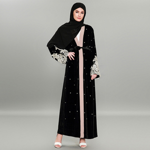 175aee58fa9 Hot sale latest winter elegant open abaya with lace modest design kaftan  for moslim women islamic