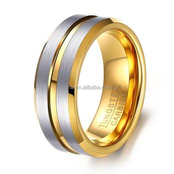 European Wedding Band Ring Fashion Gold Plating Brushed Finish Tungsten Carbide Rings For Men