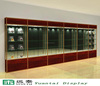wooden glass display counter design exhibition shelves with led spotlight