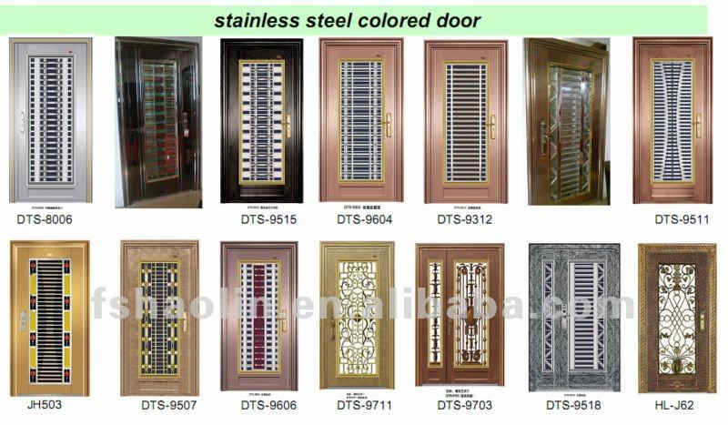 Modern window grill design door with special color finish for Entrance door designs for flats in india