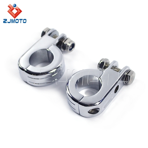 "Free Shipping Price High Quality Chrome Steel Motorcycle Foot Pegs 1 1/4""(32mm) Footrest Clamp For Engine Guard Bars"
