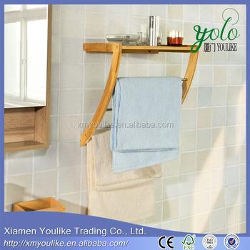 wall mounted bamboo towel rack with 3 rails and 1 shelf bathroom towel shelf