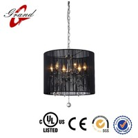 Indoor Hanging drop lamp black threaded silk lamp shade light/ new pendant light