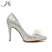China Custom made designer Silver High heel wedding shoes with diamond crystal