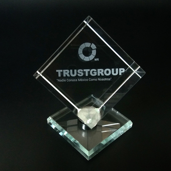 Customized Engraving K9 Crystal Cube with Rotary Base for Souvenir Gifts