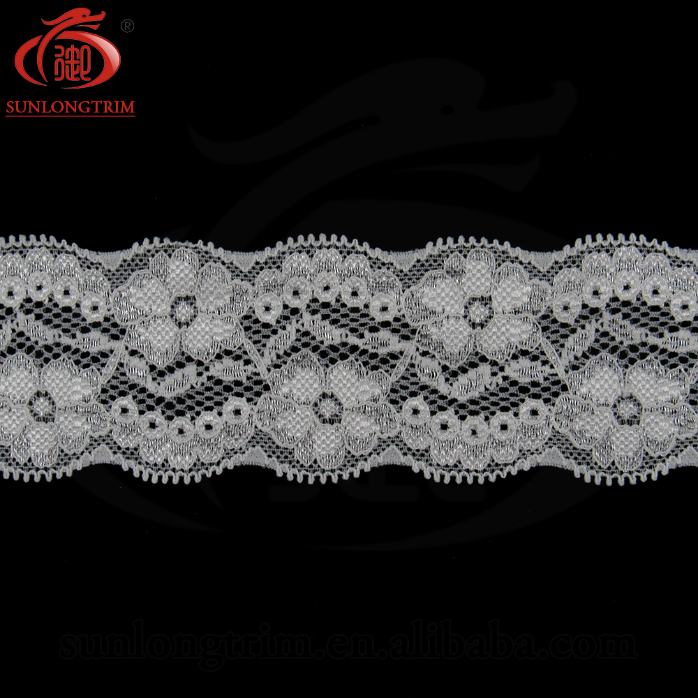 Narrow nylon stretch lace trim garter stretch lace spandex elastic lace