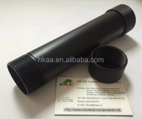 High precision black anodized aluminum flashlight housing, CNC lighting part