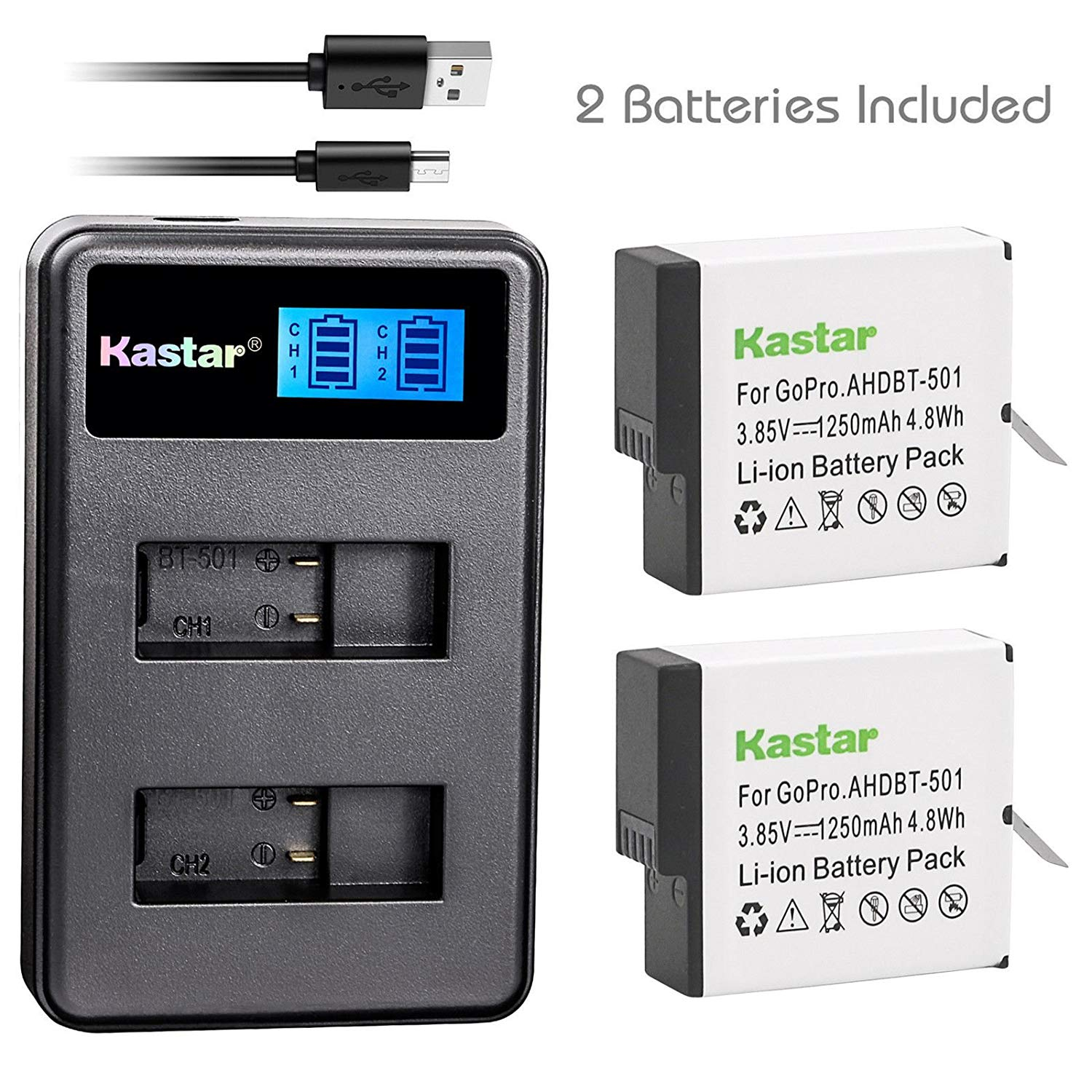 Kastar Battery 2 Pack and LCD Dual Charger for GoPro HERO GoPro AHDBT-501 GoPro AHBBP-501 & Gopro Hero 5 Action Camera GoPro HERO5 Black GoPro Hero 5 HD Black GoPro HERO5 Silver GoPro Hero 6 HD Silver