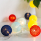 outdoor decoration cheap price colorful cotton ball battery powered led fairy string light