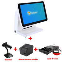 15 inch single Screen Touch POS system for supermarket with 80mm thermal printer/1D barcode scanner/1pc cash drawer