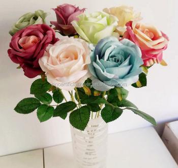 Einzelne Rose Kunstliche Blumen Hochzeit Dekoration Seide Weiss Blau