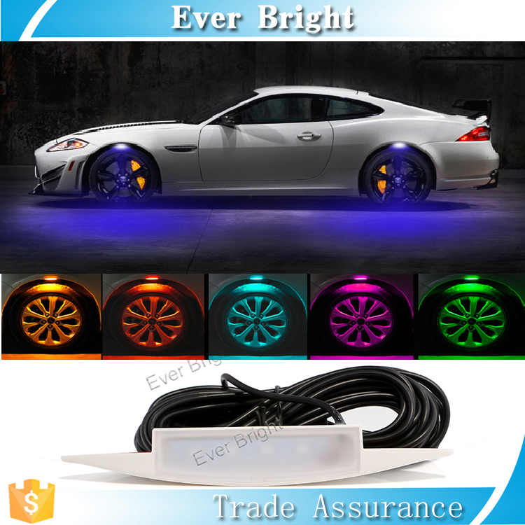 2017 new arrivals 4pcs auto halo lighting for truck tire for car wheel light eyebrow lamp multi color led decorative light