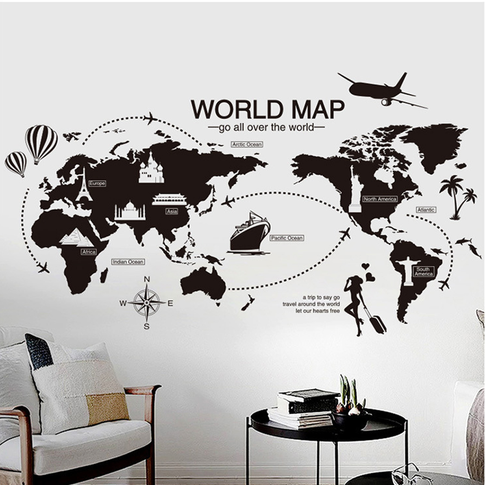 World map wall sticker wholesale wall stickers suppliers alibaba gumiabroncs Images