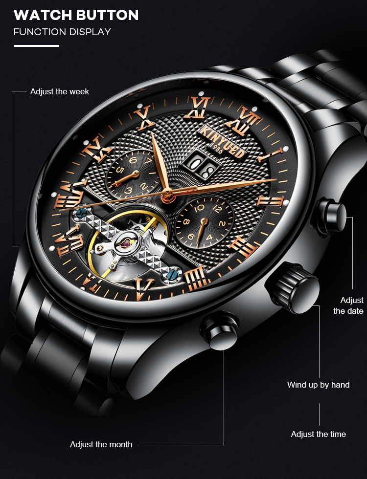 KINYUED Watch Factory Mechanical Watches Men Luxury Brand Automatic tourbillon watch for men